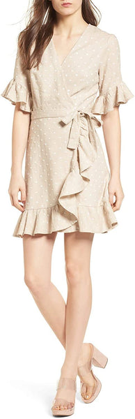 WAYF Women's Ruffle Wrap Dress, Size Large - Beige