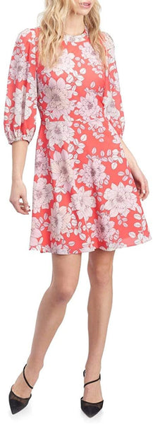Eliza J Women's Floral Chiffon Balloon Sleeve Dress - Size 14, Pink