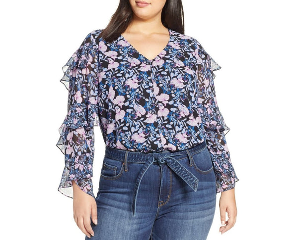 Vince Camuto Women Long sleeves Charming Floral Sleeve Top | Size - 2X | Blue
