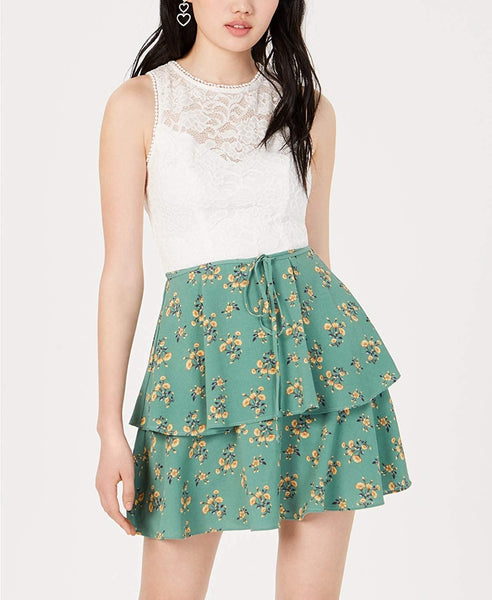 Teeze Me Juniors' Lace Floral-Print Fit & Flare Dress Green/Ivory