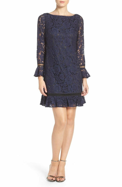 Eliza J Women's Lace Shift Dress, Size 2 - Blue