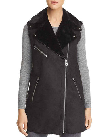 Vero Moda Womens Faux Shearling Zipper Detail Vest