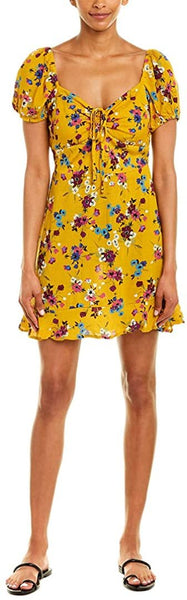 Band of Gypsies Womens Melbourne A-Line Dress, Size Small - Yellow