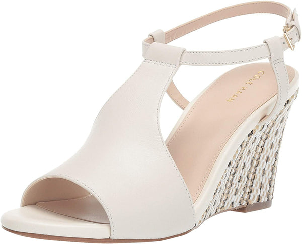Cole Haan 80 mm Maddie Open Toe Wedge Ivory Leather 11