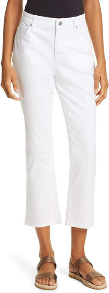 Eileen Fisher Cropped Organic Cotton Jeans, Regular & Petite, Size 12 - White