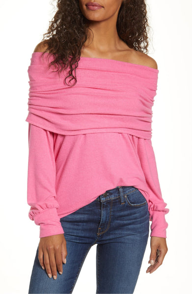 Gibson Women's Cozy Fleece Convertible Neck Sweatshirt - Size Small | Pink