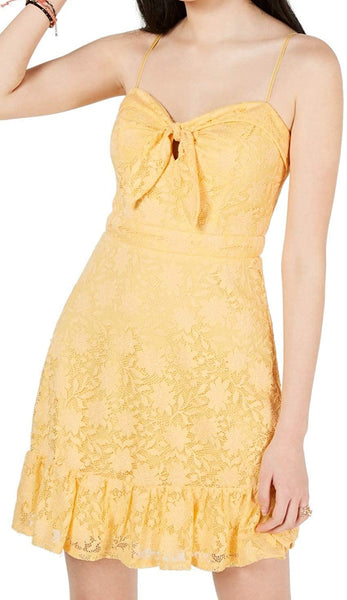 City Studio Womens Juniors Lace Overlay Ruffled Mini Dress Yellow 3