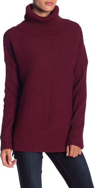 Sweet Romeo Women's Cool Girl Rib Knit Sweater - Size Small | Bordeaux