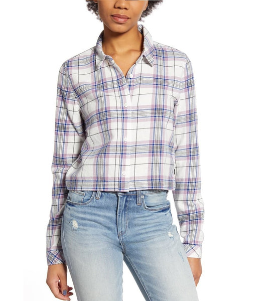 Vans Women's Box Car Plaid Flannel Shirt - Size Large | Purple