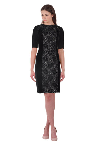 Teri Jon Lace & Velvet Panel Elbow Sleeve Sheath Cocktail Evening Dress