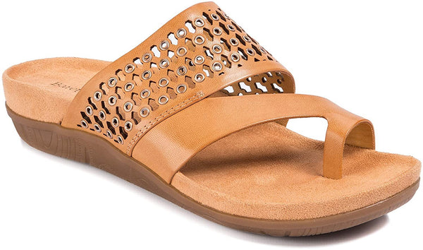 BareTraps Womens Ginger Leather Open Toe Casual Slide, Ginger, Size 11.0