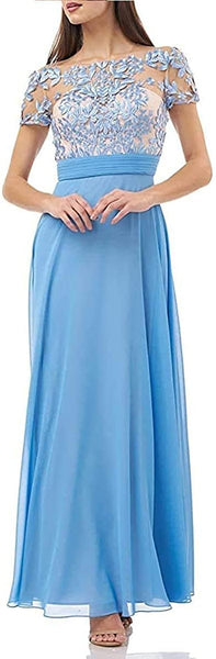 JS Collections Women's Embroidered Illusion Bodice Gown, Size 8 - Blue