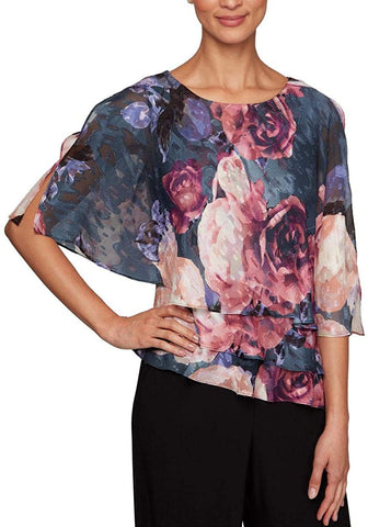Alex Evenings Womens Petites Printed Ruffled Blouse