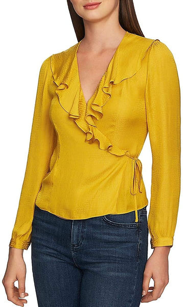 1.State Women's Long Sleeve Ruffle Dot Jacquard Wrap Top