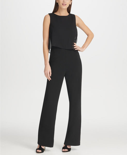 DKNY Women Crew neck Chiffon Overlay Jumpsuit | Size - 8 | Color - Black