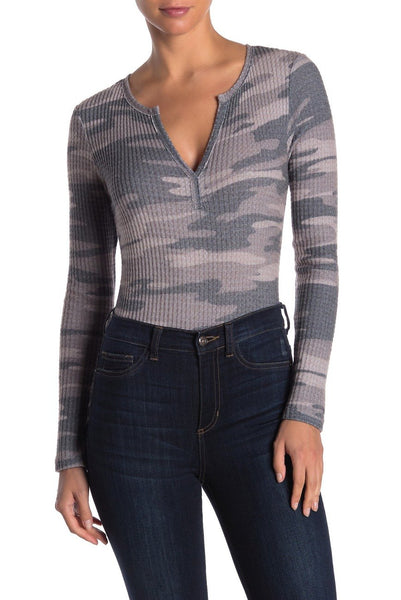 Socialite Women Long Sleeves Split V-Neck Bodysuit | Size - L | Charcoal Camo
