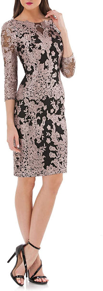 JS Collections Embroidered Black Lace Cocktail Dress - Size 8