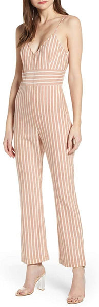 Leith Women's Flare Leg Jumpsuit, Size X-Small - Brown