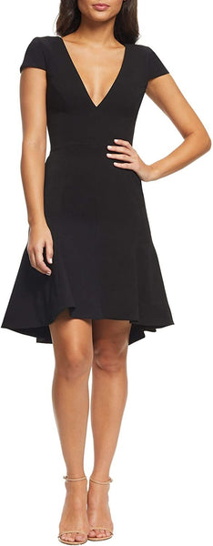 Dress the Population Women's Bettie High/Low Ruffle Hem Cocktail Dress - Size X-Small, Black