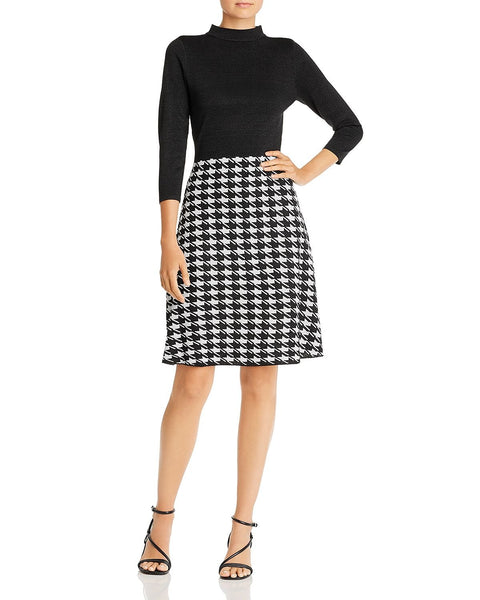 nanette Nanette Lepore Houndstooth Combo Fit and Flare Dress