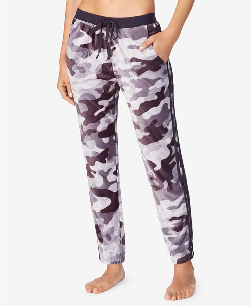 DKNY Women side pockets Lux Plush Jogger | Size - Large | Grey Print