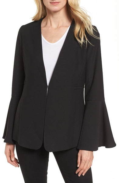 HALOGEN Bell Sleeve Blazer, Black, Medium