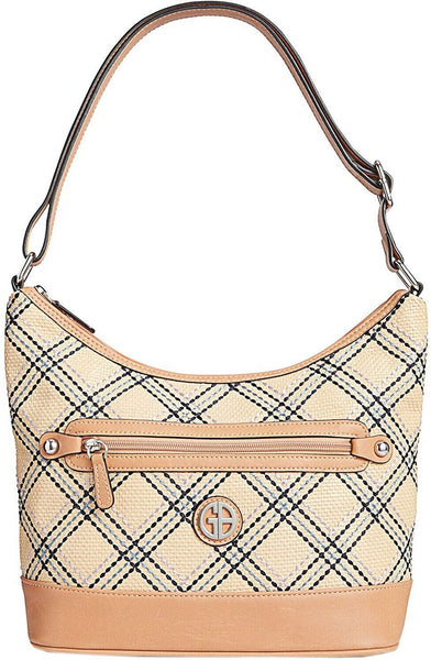 Giani Bernini Straw Plaid Hobo, Tan Multi/Silver One Size