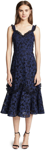 Women's Rebecca Taylor Adriana Eyelet Midi Dress, Size 10 - Blue