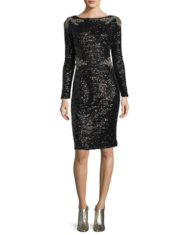 David Meister Two Tone Sequined Long Sleeve Sheath Cocktail Dress