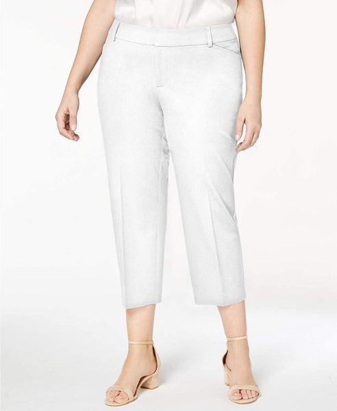 Charter Club Plus Size Cotton Blend Cropped Pants White - 16W