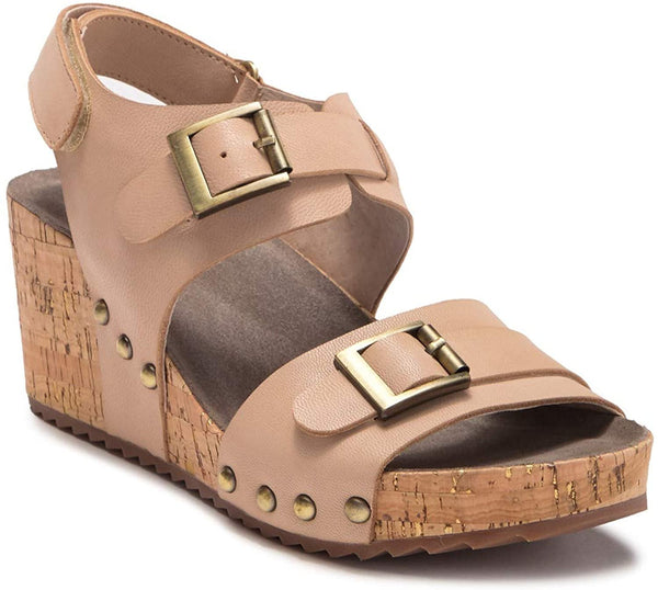 Antelope Women Buckle Strap Cutout Sandal - Size 8, Color - Make Up