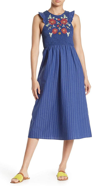 Taylor & Sage Embroidered Pin Stripe Midi Dress - Size X-Large, Navy