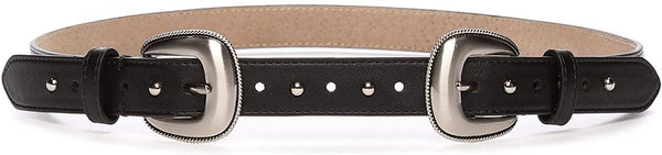 New Directions Double Buckle Front Belt with Domed Studs - Size X-Large | Black