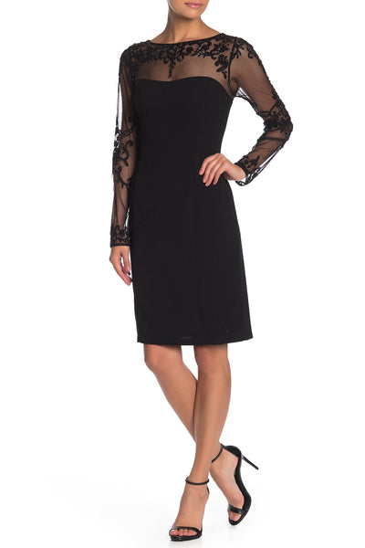 Marina Women Long Sleeve Beaded Shift Dress, Size 10, Black