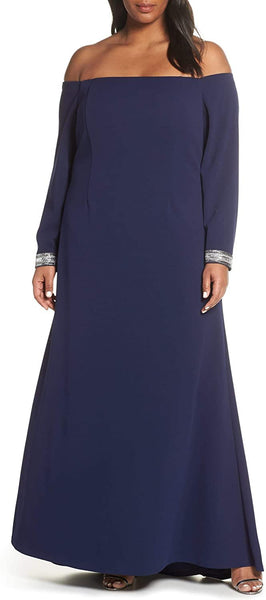 Vince Camuto Plus Size Women's Crystal Cuff Off The Shoulder Long Sleeve Crepe Dress, Size 16W - Blue