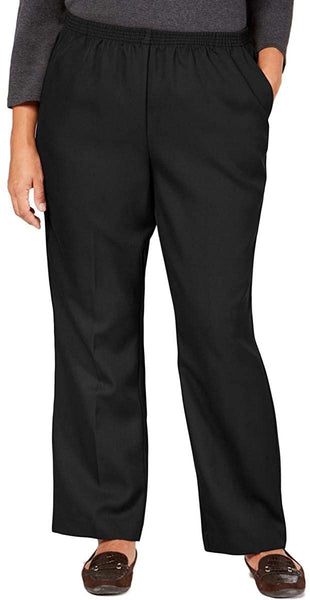 Karen Scott Womens Plus Comfort Waist Classic Fit Pull On Trouser Pants Deep Black 3X