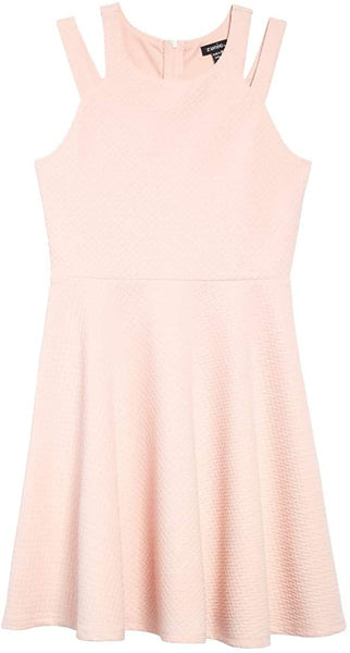 ZUNIE Girl's Textured Skater Dress, Size 10 - Pink