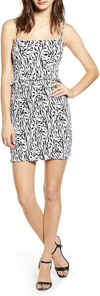 AFRM Women's Isla Zebra Print Smocked Minidress - Size X-Large | White