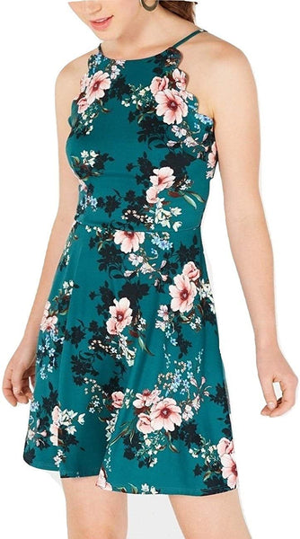 BCX Womens Fit & Flare Floral Print Halter Dress Green S