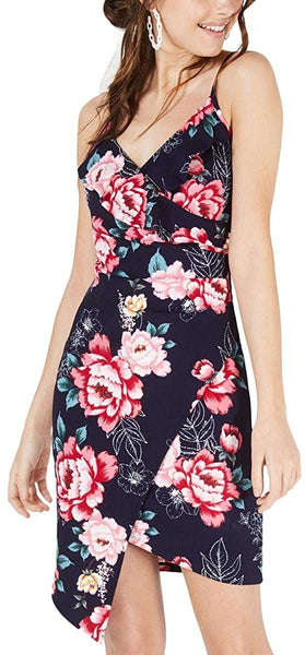 Crave Frame Womens Juniors Floral Ruffled Cocktail Dress Navy M
