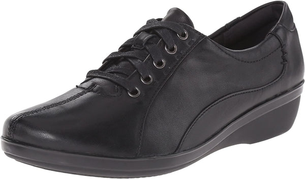 Clarks Women's Everlay Elma Oxford, Black Leather, 8.5 M US