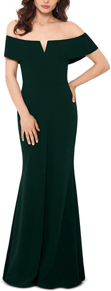 Betsy & Adam Women Off-The-Shoulder Gown Petite | Size - 8 | Color - Pine Green