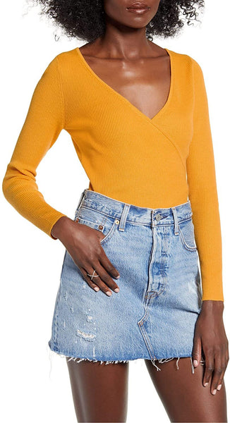 Leith Women Rib Wrap V-Neck Long Sleeves Sweater | Size - Medium | Yellow
