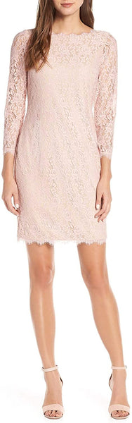 Eliza J Women's Embroidered Lace Sheath, Size 10 - Pink