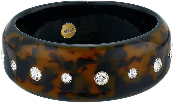 Vince Camuto Women's Resin Bangle Stones Bracelet, One Size, Gold/ Tortoise