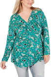 Style & Co. Plus Size V-Neck Twist-Front Floral-Print Top - 1X