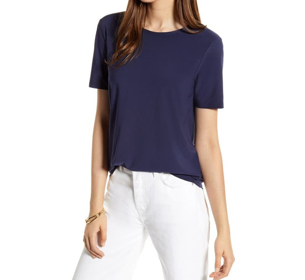 Halogen Women Tie Back Knit Top Short sleeves | Size - Small | Blue