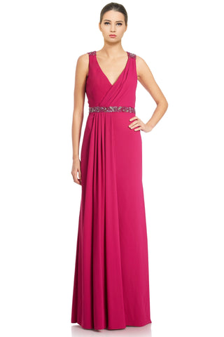 Pamella by Pamella Roland Beaded Crepe Cowl Back Evening Gown Dress