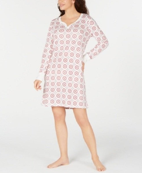 Charter Club Women's Printed Cotton Sleepshirt Nightgown - Medium - Parquet Tile