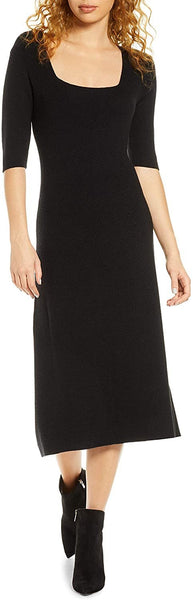 Women's Charles Henry Midi Sweater Dress, Size X-Small - Black